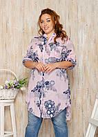Рубашка женская большой размер 45811 (50/52 универсал) (цвета: розовый, белый, бежевый) СП, фото 1