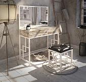 Туалетный столик с зеркалом и пуфом Тенеро Лофт Арден для спальни в белом цвете