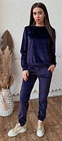 Женский спортивный костюм из бархата KML 00553 S-L (42-48) Темно-синий
