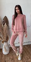 Женский спортивный костюм из бархата KML 00553 S-L (42-48) Бежевый