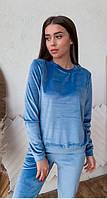 Женский спортивный костюм из бархата KML 00553 S-L (42-48) Голубой