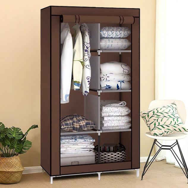 Шкаф тканевый для одежды на 2 секции IStorage «8890 brown» 90х45х170 см Коричневый