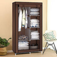 Шкаф тканевый для одежды на 2 секции IStorage «8890 brown» 90х45х170 см Коричневый, фото 1
