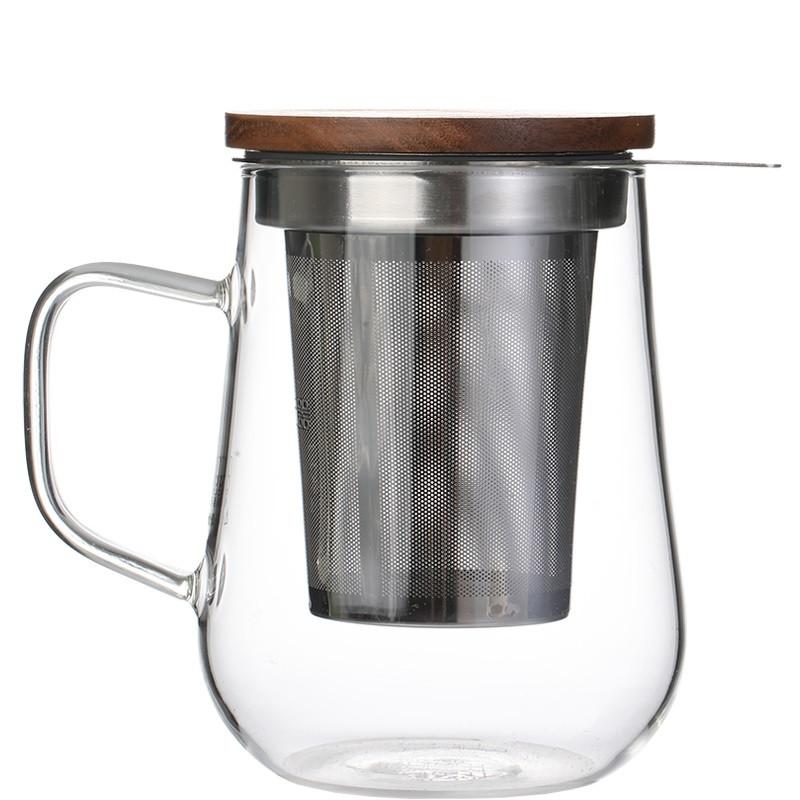 Чашка заварник з боросилікатного скла з фільтром з нержавіючої сталі 500 мл