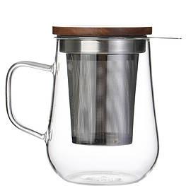 Чашка заварник из боросиликатного стекла с фильтром из нержавеющей стали  500 мл