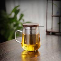 Чашка заварник з боросилікатного скла з фільтром з нержавіючої сталі 500 мл, фото 2
