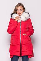 Женская куртка зимняя MODA 00079-1 (44-54) S -3XL Красный