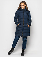 Женская куртка зимняя MODA 00019-4 (44-62) S - 7XL Темно-синий