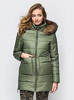 Женская куртка зимняя MODA 00039-1 (44-52) S-XXL Хаки