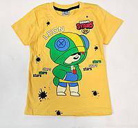 Детская футболка для мальчика бравл старс brawl stars Леон желтая 4-5 лет