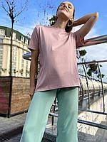 Футболка женская базовая из хлопка розовая пудровая с коротким рукавом L