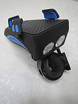 Велофонарь Powerbank велодержатель смартфона велозвонок (4 в 1), фото 3