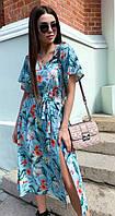 Летнее женское платье с разрезом 00558 KML XS-XXL (42-52) Голубой XL-XXL