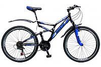 """Велосипед Titan Ghost 26"""" 18"""" Чёрный-Голубой-Белый"""