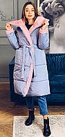 Женский пуховик двухсторонний KML 0012 /2 (42 -48) Светло-серый с розовым ( KML -0012/2 A)
