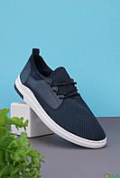 Мужские синие кроссовки с черными шнурками (бюджетные)