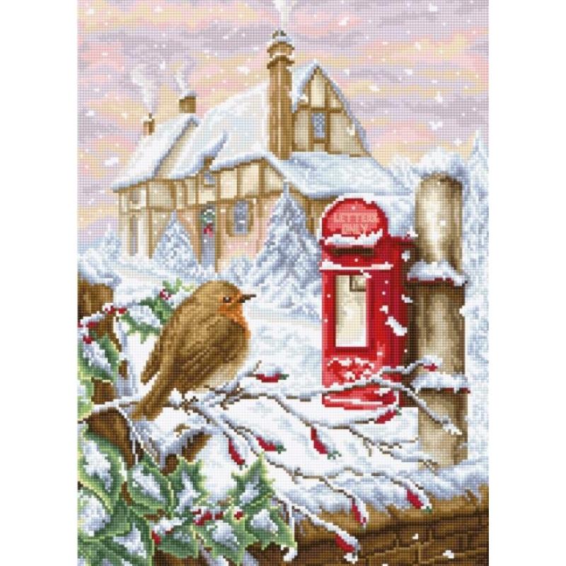 Наборы для вышивания крестом Luca S Красный почтовый ящик. Праздник Новый год
