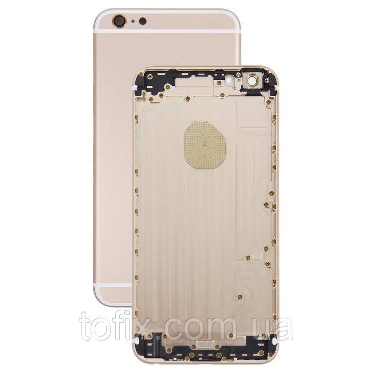 Корпус для iPhone 6 Plus, с держателем SIM-карты, с кнопками, золотистый (Gold), оригинал