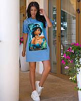 Женская туника с турецкого хлопка, с фотопечатью(44-54), фото 1