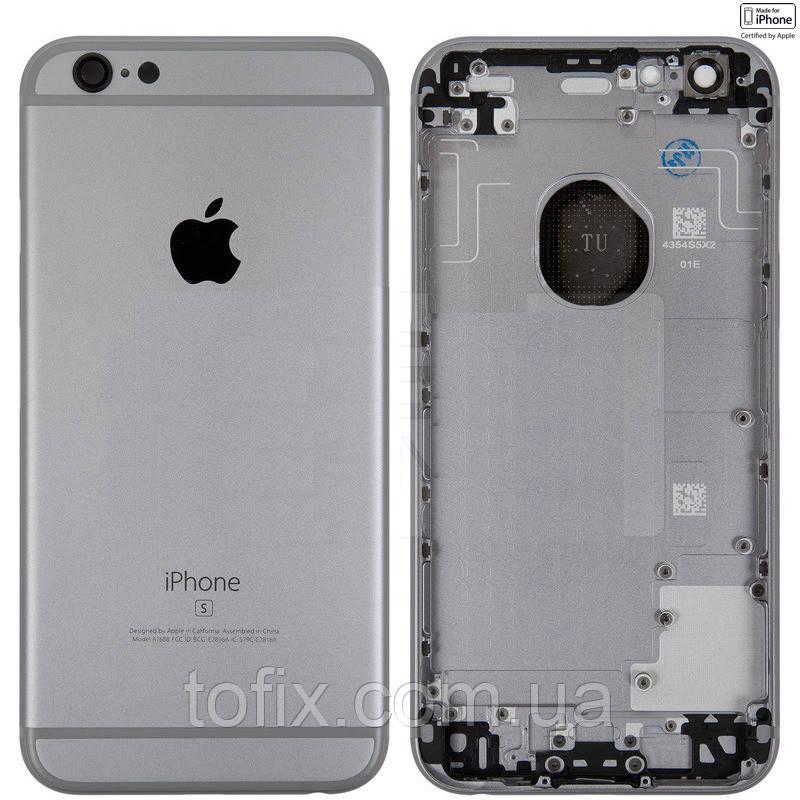 Корпус для iPhone 6S Plus, с держателем SIM-карты, с боковыми кнопками, черный, Space Gray