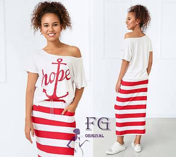 / Размер 42-44,46-48,50-52 / Женский летний костюм в морском стиле Maritime / цвет красный