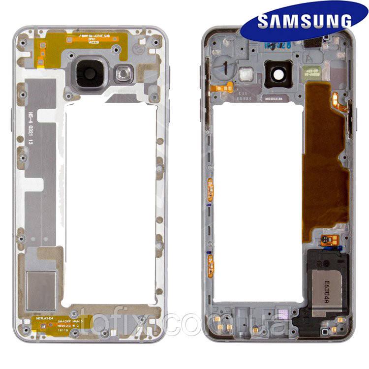 Средняя часть корпуса для Samsung Galaxy A3 (2016) A310, черная