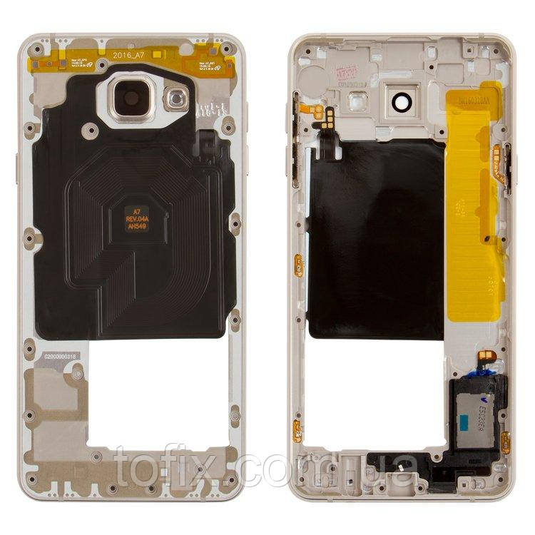 Средняя часть корпуса для Samsung Galaxy A7 (2016) A7100, A710FD, 2Sim+1MMC, золотистая