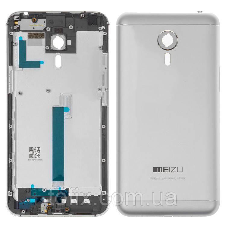 Задняя панель корпуса (крышка аккумулятора) для Meizu MX5, серебристая