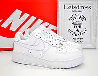Кроссовки Nike air force 1 low White Женские кожаные найк аир форс 1 белые подростковые аір форси
