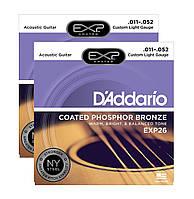 Струны для акустической гитарыD'Addario EXP26 Phosphor Bronze Custom Light (11-52)