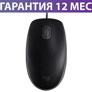 Компьютерная мышь Logitech B110 Silent, черная, USB, оптическая, 1000 dpi, 3 кнопки, 1.8 м, проводная мышка