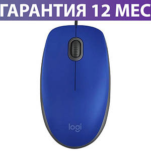 Компьютерная мышь Logitech M110 Silent, синяя, USB, оптическая, 1000 dpi, 3 кнопки, 1.8 м, проводная мышка