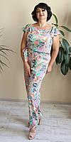 Красивый женский эффектный комбинезон с яркой расцветкой большого размера