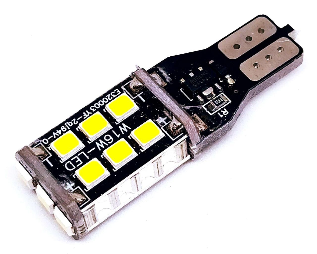 Автолампа  LED диод SMD 2835, T15 W16W, 12В, 16Вт, Белый