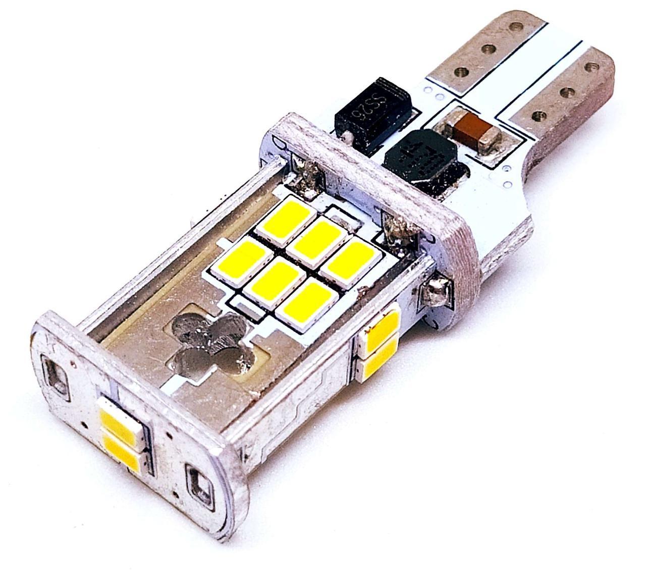 LED автолампа лед диодная T15 W16W, SMD 2030, 12В, 16Вт, Canbus, Белый