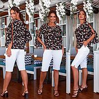 Удобный летний женский костюм свободная блуза с бриджами больших размеров 48, 50, 52,54