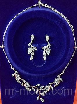 153. Свадебная женская бижутерия - свадебное колье с сережками на опт.