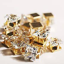 Кубический циркон, форма квадрат в оправе 6 мм, прозрачный камень, 1 шт, фото 2