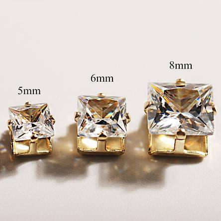 Кубический циркон, форма квадрат в оправе 8 мм, прозрачный камень, 1 шт, фото 2