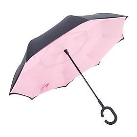 Зонт обратного сложения антизонт ветрозащитный д110см 8сп MHZ WHW17133 Pink