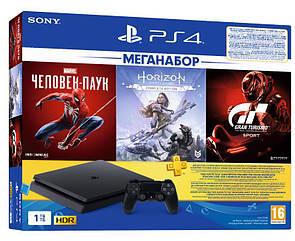 PlayStation 4 1ТВ в комплекті з 3 іграми і підпискою PS Plus (Spider Man & Gran Turismo & Horizon Zero Dawn)