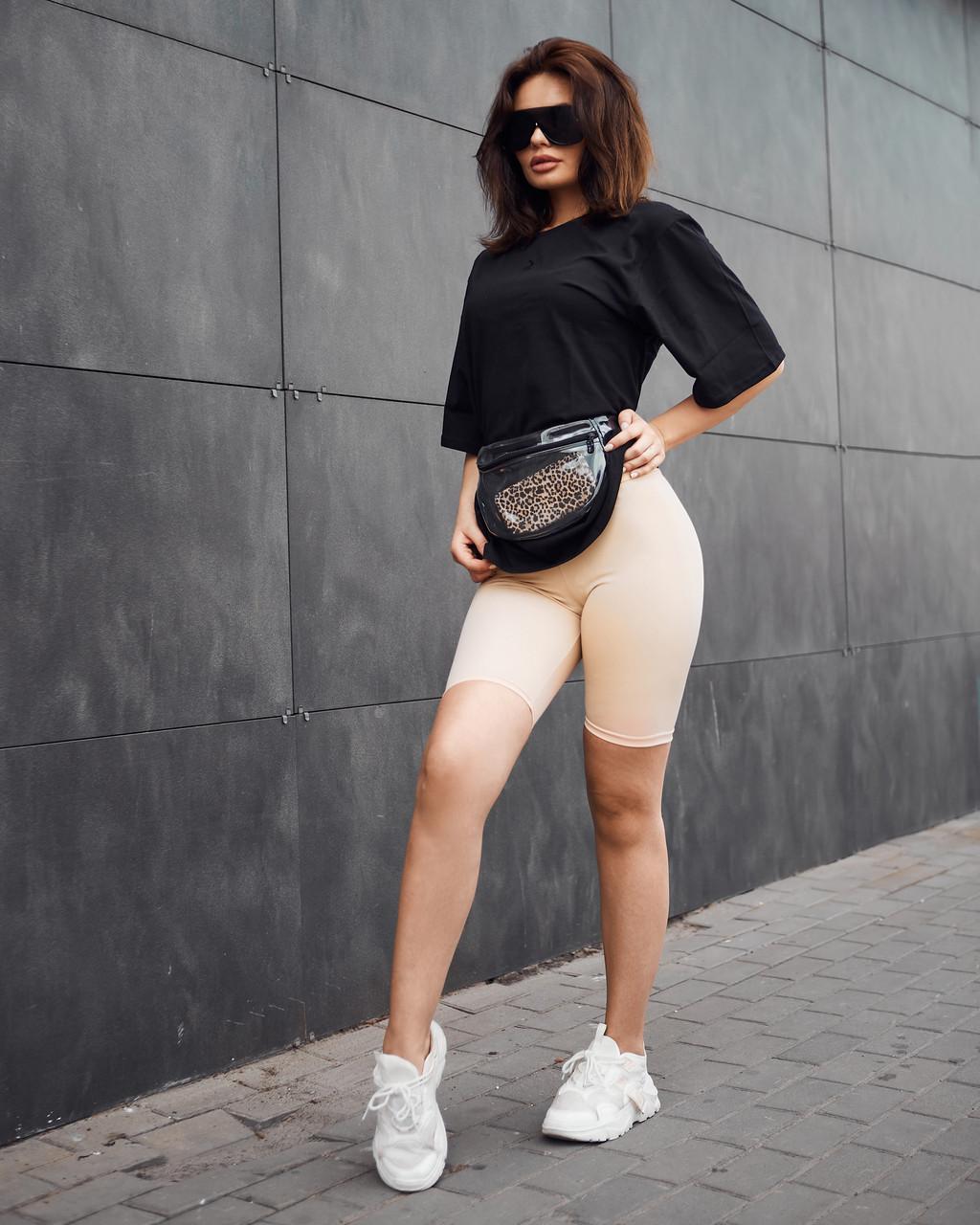 Спортивний жіночий комплект Jin велосипедки і футболка чорний