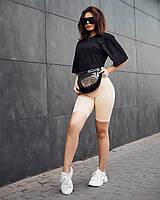 Спортивний жіночий комплект Jin велосипедки і футболка чорний, фото 1