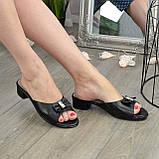 Женские черные шлепанцы из натуральной кожи, фото 2