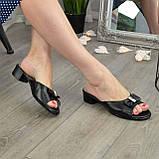 Женские черные шлепанцы из натуральной кожи, фото 3