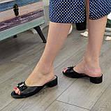 Женские черные шлепанцы из натуральной кожи, фото 4