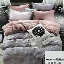 Комплект постельного белья КЛЕТКА серо-розовая, сатин