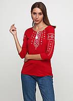 Красная вышиванка женская ЕтноМодерн  М-707-16 Футболка вышиванка 3/4 рукав