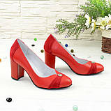 Туфли красные женские кожаные на высоком устойчивом каблуке, фото 5