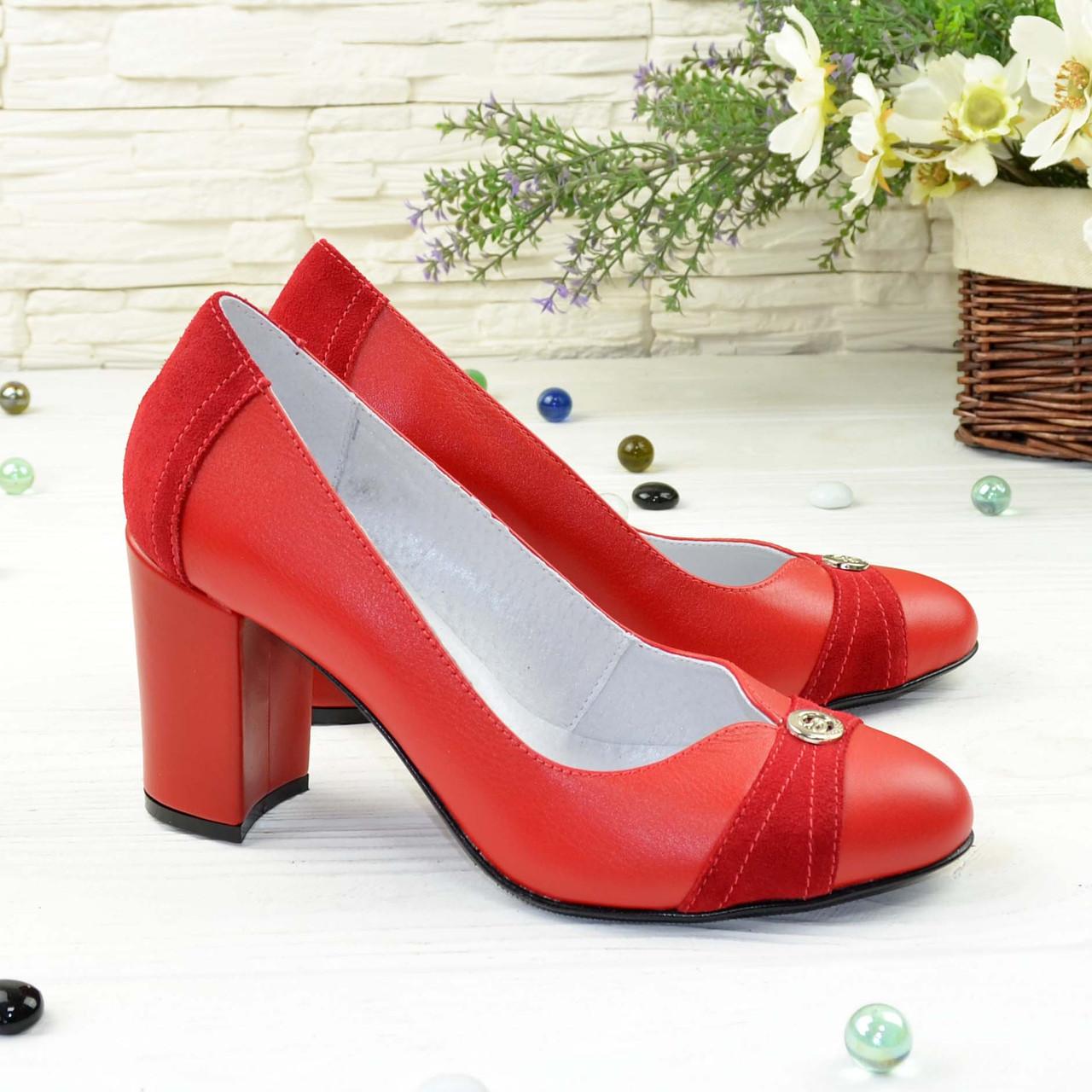 Туфли красные женские кожаные на высоком устойчивом каблуке